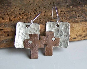 MARCH MADNESS SALE Reduced Hammered Metalwork Earrings, Riveted Earrings, Cross Earrings, Copper and Silver Filled Earrings, Etched Earrings