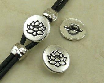 TierraCast Small Lotus Button > Flower Zen Buddhist Yoga Buddha - Fine Silver Plated LEAD FREE Pewter - I ship Internationally 6578