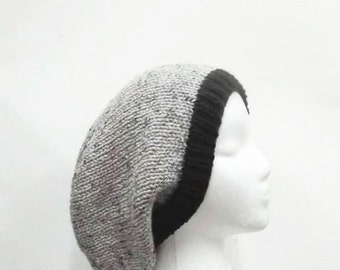 Oversized beanie hat gray with marble flecks and black brim  5093