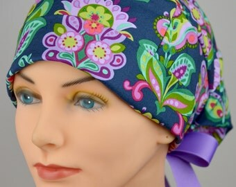 Scrub Hats // Scrub Caps // Scrub Hats for Women // The Hat Cottage // Small // Ribbon Ties // Folk Bloom