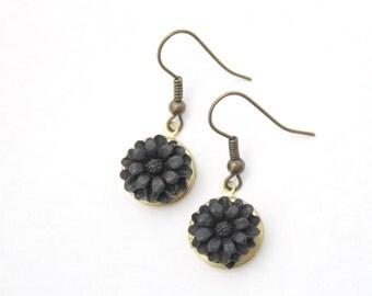 Round Locket Earrings - Vintage brass lockets with black flower drops