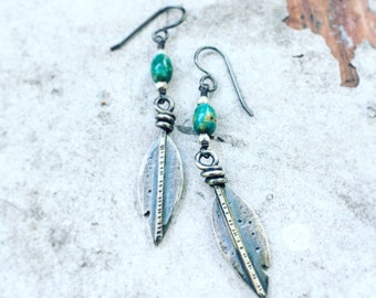 All Day Turquoise and Feather Earrings