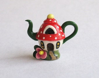 SALE Handmade Miniature Fairy Toadstool House Teapot by C. Rohal