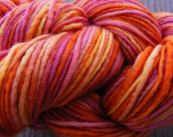 Handpainted Yarn Wool 188yards 3.9oz Worsted Weight Knitting Aspenmoonarts Hand Painted Red Orange C017 Felting