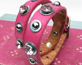 Skinny Bubblegum Pink Leather Dog Collar with Gems and Studs, Size M to fit a 14-17in Neck, Medium Dog Collar, Seattle Handmade, OOAK
