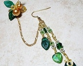 ON SALE Emerald Green Chain Ear Cuff  Bajor Bajoran Earring, Gift for Her, Stocking Stuffer