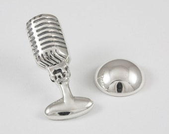 Microphone Lapel Pin, Sterling Silver