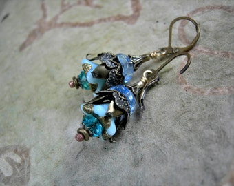 Frilly Flower Earrings, Elegant Sky Blue & Brass, Faery Inspired, Fairy Bells, Whimsical Boho Earrings, Gift Under 30, Elksong Jewelry