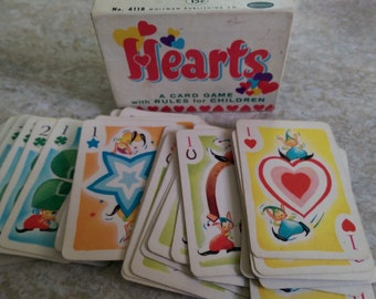 Vintage Miniature HEARTS Children's Card Game Whitman, complete