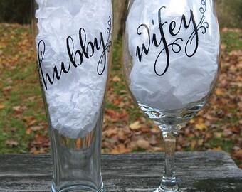 Wifey and Hubby Wine/Beer (Pilsner) Glass Set