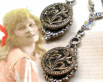 French BUTTON earrings, Victorian FLOWERS on silver. Antique button jewellery.
