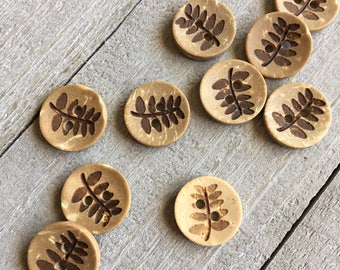 "Coconut Wood Buttons (B130) TEN 1/2"" - 13mm Round with Fern Leaf Coconut Shell Buttons for Sewing Crochet Knitting Crafts Wood Buttons"