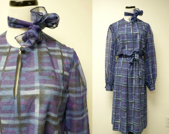 "Umba for Parues Feinstein . purple and blue plaid dress . fits a small to medium . 42"" bust . Made in USA . Union Made"