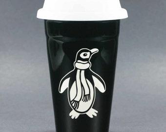 Penguin Travel Mug - lidded coffee cup