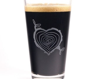 SALE - Tree Stump Heart Etched Pint Glass