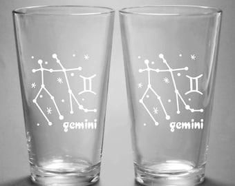 Gemini Zodiac Constellation Pint Glass