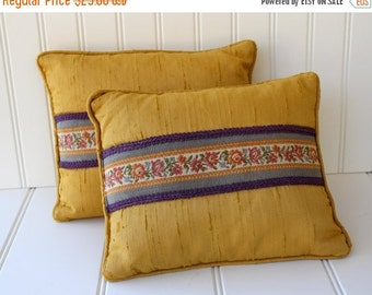 BIG SALE - Silk Shantung and Feather Pillows - Decor Pillows - Yellow Purple - Vintage Accent Pillows - Pair
