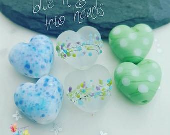 Lampwork Glass Beads Blue & Green Hearts .. per pair