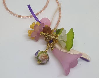 Lovely Floral Flower Beaded Bookmark Lampwork Book Thong Orange Peach Purple Green