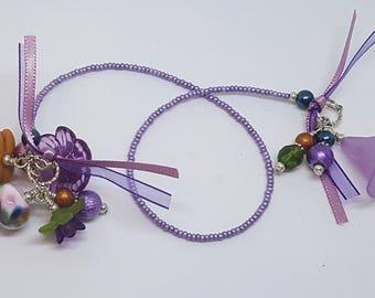 Handmade Lampwork Beaded Bookmark Book Thong Purple Amber