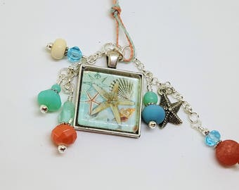 Ocean Beach Sea Theme Pendant Charm Bookmark Book Thong Coral Teal
