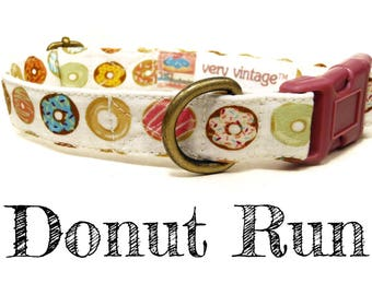 "Whimsical Playful & Fun Unique Donuts Doughnuts Dog Collar - Antique Brass Hardware - ""Donut Run"""