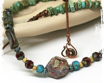 Boho short necklace, Stone choker for women, Southwestern necklace, Rustic Bohemian Jewelry, Cowgirl necklace, Layering jewelry,