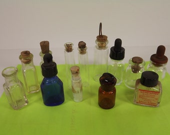 Vintage Miniature Bottles Apothecary Perfume Medicine Lot of 13 Various Sizes Amber with Ground Stopper Blue Glass