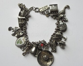 Vintage Sterling Travel Souvenir Charm Bracelet Loaded with 21 Charms, 4 Moving Charms, Historical Sites, Memorabilia and Keepsakes