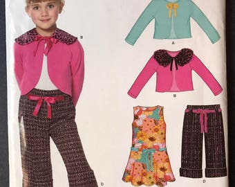 New Look 6772 Pattern Girl's Jumper, Pants and Knit Cardigan sizes 3-4-5-6-7-8