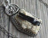 SALE Buried Necklace - Black Tourmaline Crystal in Quartz Matrix Set in Sterling Silver
