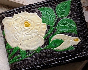Vintage Black Leather Hand Tooled Pained Flower Floral Rose Wallet