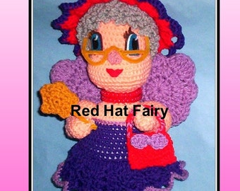 Red Hat Fairy Doll Crochet Pattern, red hat doll, crochet fairy, crochet wings