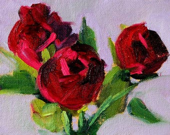 Red Roses, Still Life, Oil Painting, Miniature 4x5, Canvas Original, Floral Wall Decor, Tiny Little, Small Flowers, Pink Green, Lavender