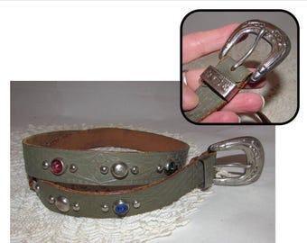Vintage Childs Gray Leather Belt with Colored stones & Studs, Small, western, cowgirl