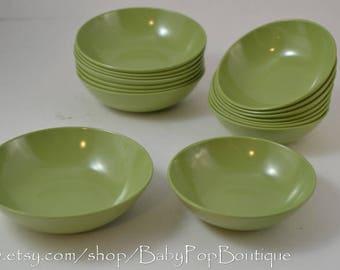 Melamine Vintage bowls Mid Century Retro 16 in set Avocado green sage