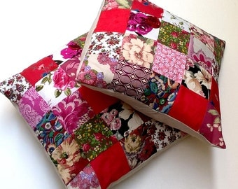 Pair of Patchwork Cushion / Pillow Covers - Vintage Reds, Plum, Cream