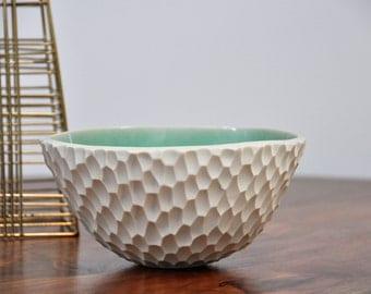 Copper Blue Coneflower Ceramic Bowl - Ceramic Bowl Blue White Ceramic Bowl Handmade Serving Bowl