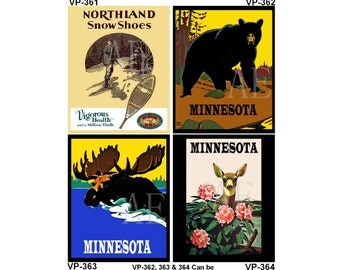 VP361-364 Vintage Poster Art - One 8x10 or Two 5x7s - Northland Show Shoes, Grizzly Bear, Moose in Lake, Deer with Flowers MN or Personalize