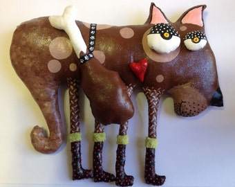 Soft Sculpture Dog wall hanging with turkey leg
