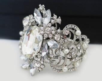 Bridal Cuff Bracelet Art Deco Wedding Cuff Rhinestone Pearl Statement Bracelet Blue Gray Silver Leaf Flower Wedding Jewelry Vintage Sukran
