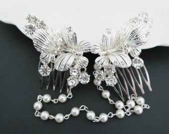 Bridal Headpiece Butterfly Hair Comb Bohemian Wedding Hair Piece Crystal Swarovski Pearl Great Gatsby Flapper Forehead Band Downton Abbey