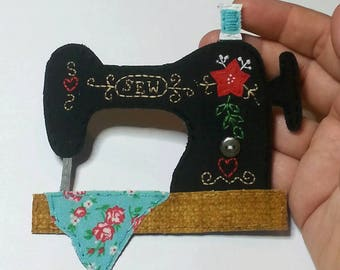 Sewing Machine Applique Vintage Featherweight Singer Inspired Patch Treadle Sewing Machine Black Antique Made to Order