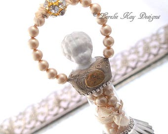 Shabby Pearl Rhinestone Frozen Charlotte Art Doll Ornament Miniature Assemblage Art Doll  One-of-a-kind Mixed Media Sculpture