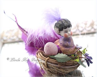 Amethyst Fantasy Bird Art Doll Nature Theme Tiny Bird Doll OOAK Sculpted Assemblage Doll Lorelie Kay Designs