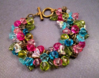 Flower Cha Cha Bracelet, Colorful Bouquet, Pink Blue Green White and Brass Charm Bracelet, FREE Shipping U.S.