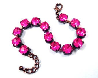 Fuschia Rhinestone Bracelet, Hot Pink Glass Rhinestone and Gunmetal Silver Beaded Bracelet, FREE Shipping U.S.