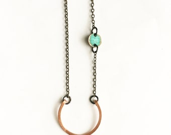 Hammered Copper Patina Necklace