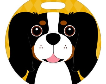 Personalized Luggage Tag / Carry On Bag Tag / Round FRP Plastic Tag / Cavalier King Charles Spaniel, Tricolor / 2 Sizes Available