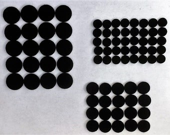 Felt Dots / Circles - Black - Sizes:  1.0 inch (20) , .75 inch (20), .50 inch (40)